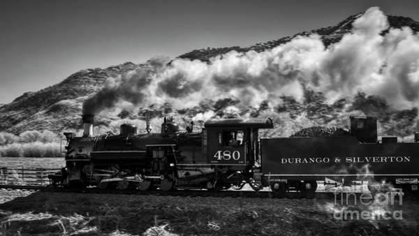 Photograph - The 480 Durango Silverton Steam Engine In Black And White by Janice Pariza