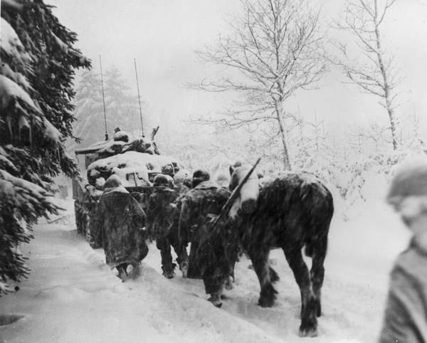 Armored Vehicle Photograph - The 82nd In The Snow by Keystone