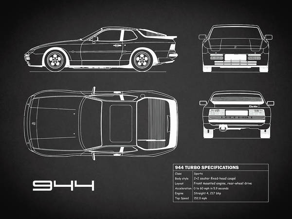 Photograph - The 944 Blueprint In Black by Mark Rogan