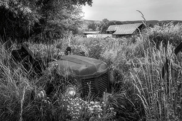 Photograph - The Abandoned Tractor Black And White by TL Mair