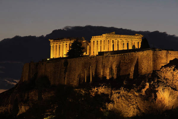 Photograph - The Acropolis At Night by Lucinda Walter