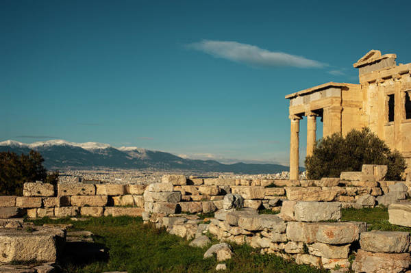 Erechtheion Photograph - The Acropolis Erechtheion With Snowy Mountains by Cassi Moghan