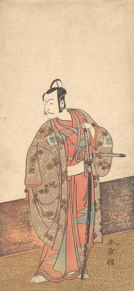 Relief - The Actor Ichikawa Danjuro V Standing Inside Of A House And In Front Of An Engawa  by Katsukawa Shunsho