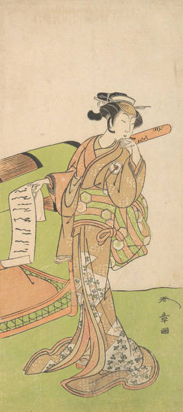 Relief - The Actor Iwai Hanshiro Iv In Female Role, Standing Beside A Litter by Katsukawa Shunsho