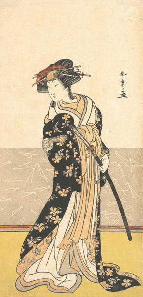Relief - The Actor Nakamura Riko, As A Courtesan With A Sword by Katsukawa Shunsho