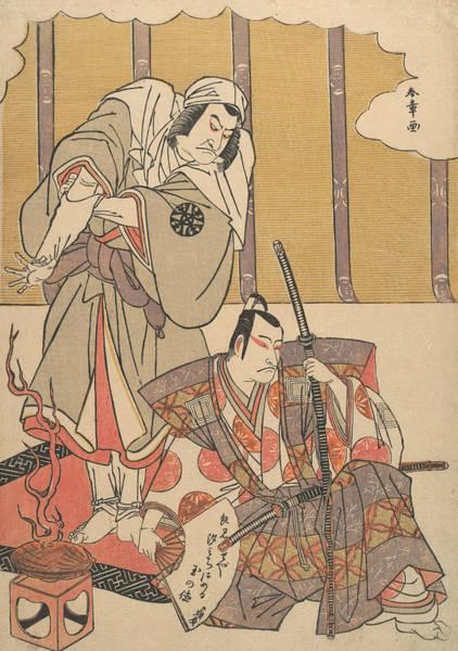 Relief - The Actors Ichikawa Danjuro I And Nakamura Denkuro II In Unidentified Roles  by Katsukawa Shunsho