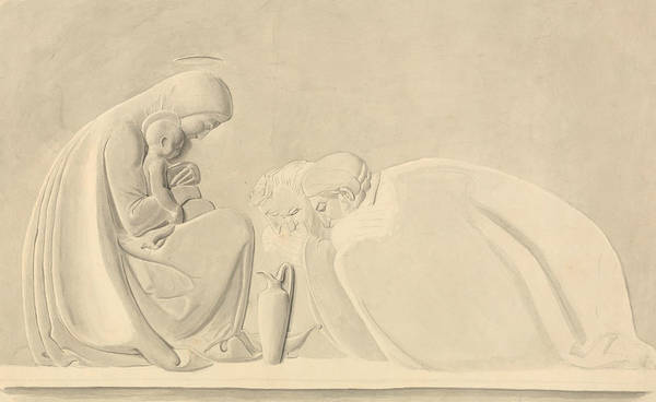Wall Art - Drawing - The Adoration Of The Magi, A Design For Bas Relief by John Flaxman
