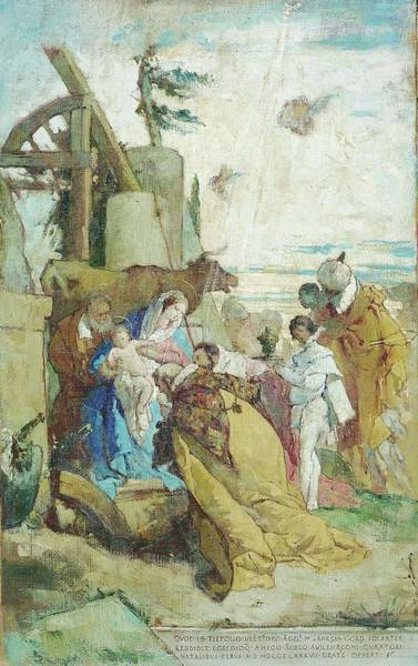 Wall Art - Painting - The Adoration Of The Magi  By Tiepolo  by Angel Maria Barcia de Pavon