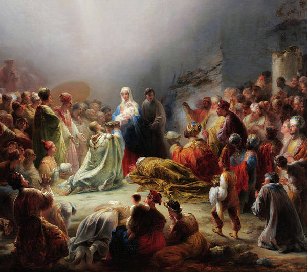 Wall Art - Painting - The Adoration Of The Magi by Domingos Sequeira