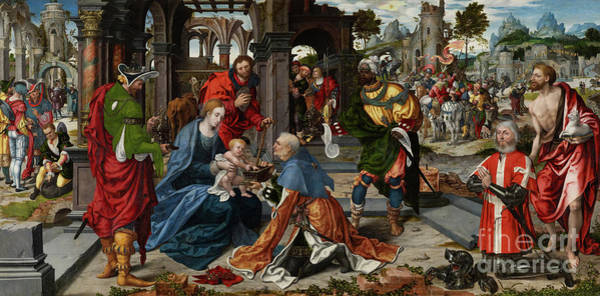 Wall Art - Painting - The Adoration Of The Magi With Donor  by Noel Bellemare