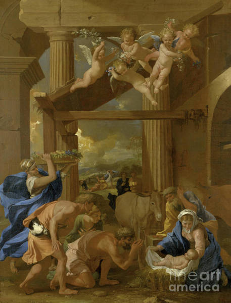 Wall Art - Painting - The Adoration Of The Shepherds, Circa 1633  by Nicolas Poussin