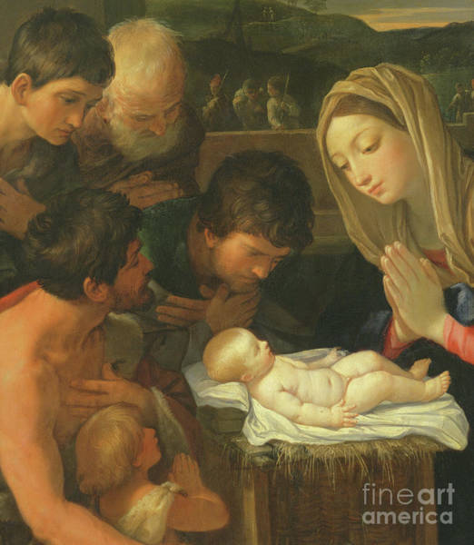 Wall Art - Painting - The Adoration Of The Shepherds, Detail by Guido Reni