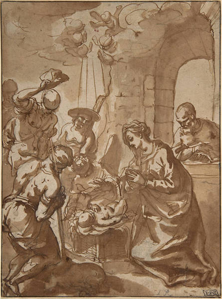 Wall Art - Drawing - The Adoration Of The Shepherds by Hans Rottenhammer