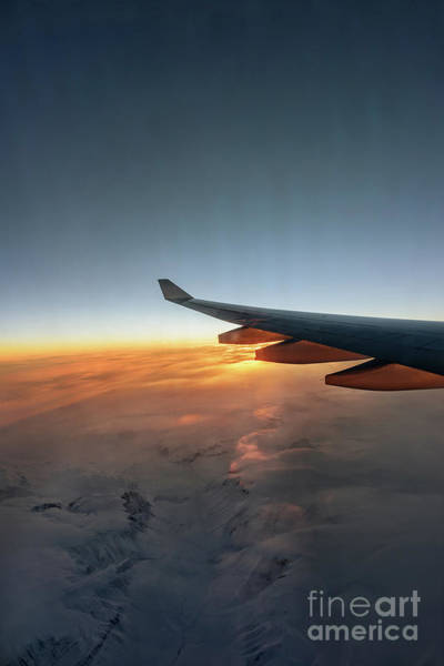 Wall Art - Photograph - The Airplane Wing Against The Background Of The Rising Sun by Viktor Birkus