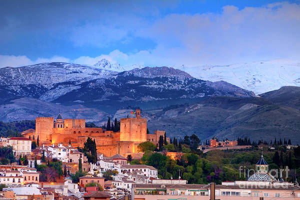 The Alhambra, Albaicin, At Blue Hour Art Print