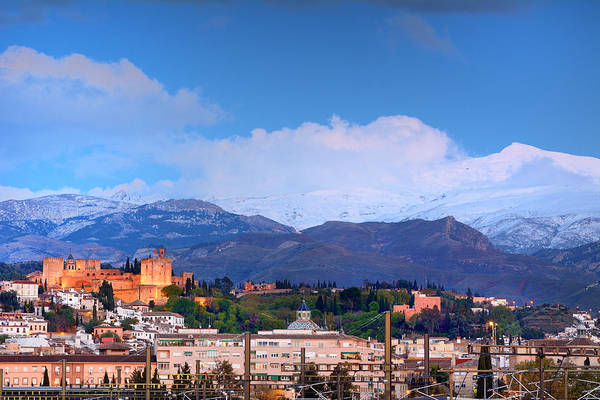 Bluehour Photograph - The Alhambra, Albaicin, Granada And Sierra Nevada At Blue Hour by Guido Montanes Castillo