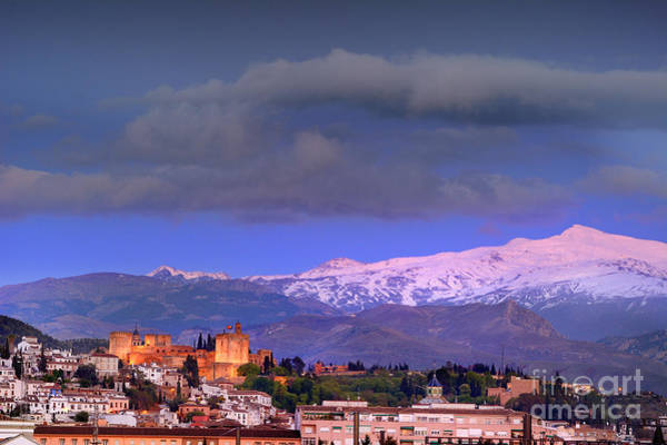 Bluehour Photograph - The Alhambra, Albaicin. Spring Time by Guido Montanes Castillo