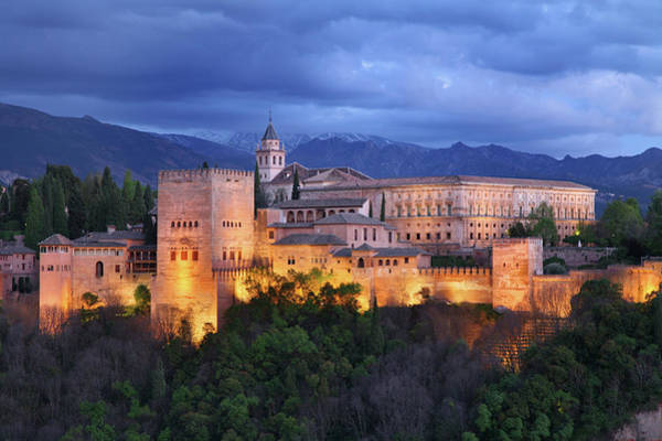 Sierra Nevada Mountain Range Photograph - The Alhambra Complex In Granada by Feargus Cooney