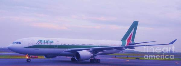 Alitalia Photograph - The Alitalia From Rome Landing At Logan, Boston by Marcus Dagan