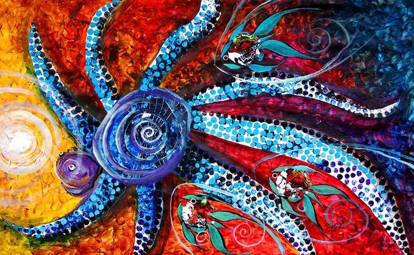 Painting - The Allegorical Octopus's Desire To Eat The Sun by J Vincent Scarpace