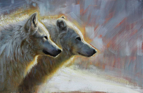 Arctic Wolf Painting - The Alphas by Virginie Baude