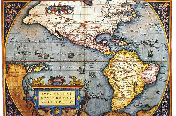 Object Digital Art - The Americas, 1587 Map By Abraham by Fototeca Gilardi