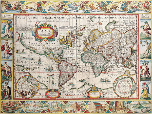 Color Image Digital Art - The Americas by The Map House Of London