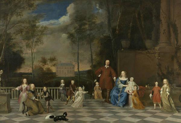 Painting - The Amsterdam Merchant Jeremias Van Collen, His Wife And Their Twelve Children by Pieter van Anraedt