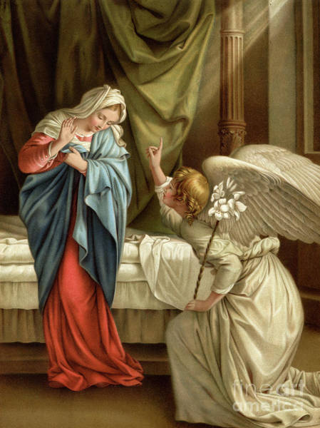 Wall Art - Painting - The Annunciation Colour Litho by Orazio Gentileschi