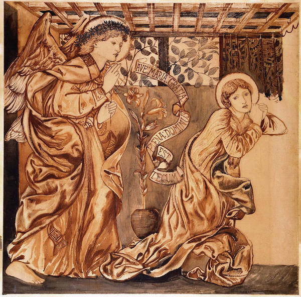 Wall Art - Painting - The Annunciation - Digital Remastered Edition by Edward Burne-Jones