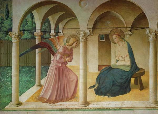 Wall Art - Painting - The Annunciation. Fresco In The Former Dormitory Of The Dominican Monastery San Marco, Florence. by Fra Angelico -c 1395-1455-