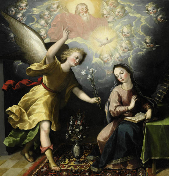 Annunciation Wall Art - Painting - The Annunciation by Luis Juarez