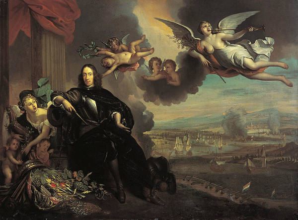 Painting - The Apotheosis Of Cornelis De Witt, With The Raid On Chatham In The Background by After Jan de Baen