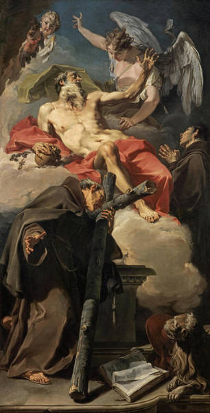 Wall Art - Painting - The Apotheosis Of Saint Jerome With Saint Peter Of Alcantara And An Unidentified Franciscan, 1725 by Giovanni Battista Pittoni