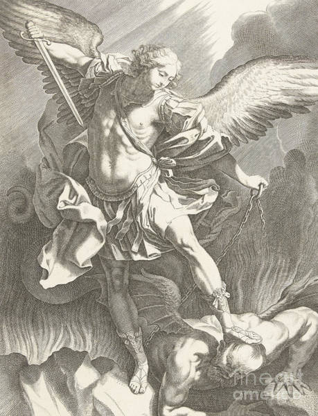Wall Art - Drawing - The Archangel St Michael Defeating The Devil, Engraving by Guido Reni