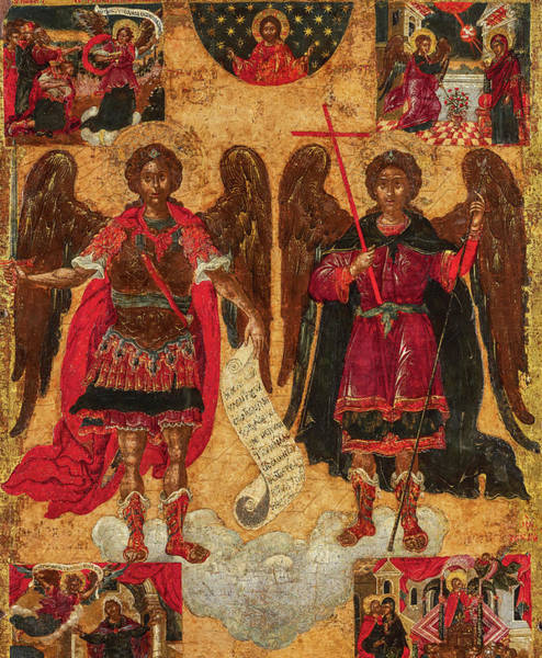 Painting - The Archangels Michael And Gabriel With Scenes, 17th Century by Unknown