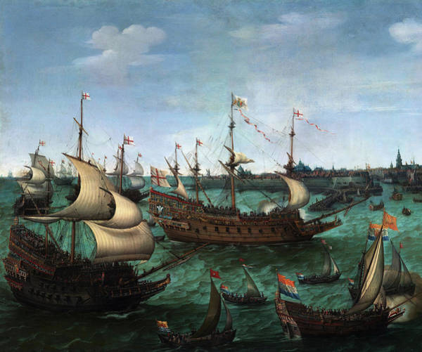 Wall Art - Painting - The Arrival Of Frederik V Of The Palantine And Elizabeth Stuart In Flushing On 29 April 1613, 1623 by Hendrick Cornelisz Vroom