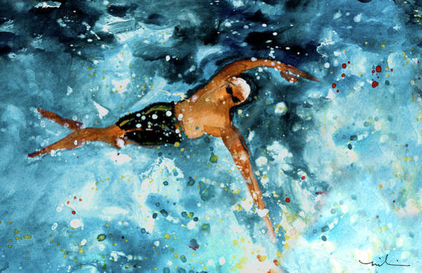 Painting - The Art Of Free Style Swimming 02 by Miki De Goodaboom