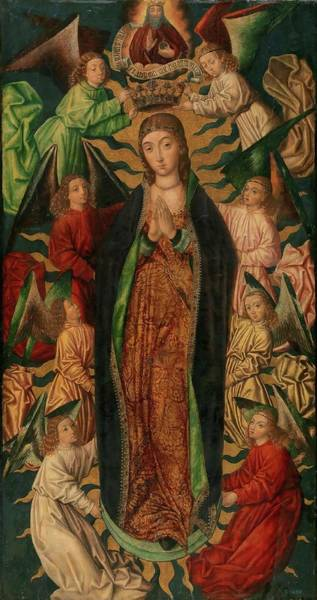 Wall Art - Painting - 'the Assumption And Coronation Of The Virgin'. Ca. 1497. Oil On... by Diego de la Cruz -fl 1482-1500-