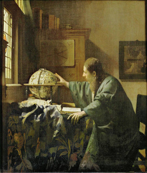 Leaded Glass Painting - 'the Astronomer', C. 1668, Oil On Canvas, 51 X 45 Cm. by Jan Vermeer -1632-1675-