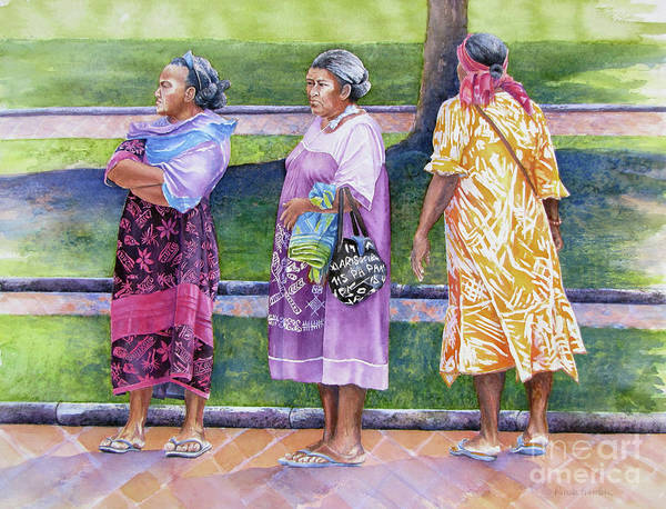 Wall Art - Painting - The Aunties In The Park by Pamela Iris Harden