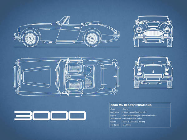 Wall Art - Photograph - The Austin-healey 3000 Blueprint by Mark Rogan