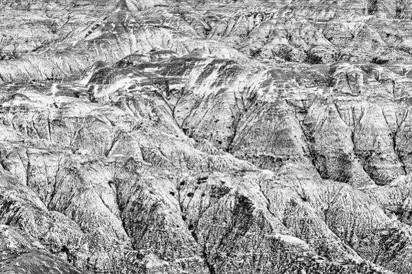 Photograph - The Badlands With Snow In Black And White by Jim Thompson