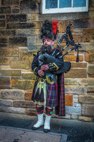 Holyrood Photograph - The Bagpiper In Full Dress by Debra and Dave Vanderlaan
