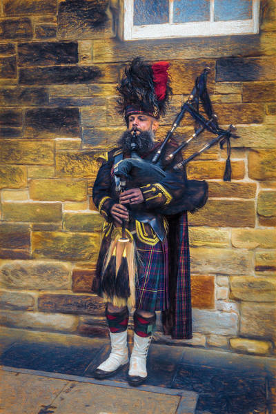 Holyrood Photograph - The Bagpiper In Full Dress Downtown Edinburgh by Debra and Dave Vanderlaan