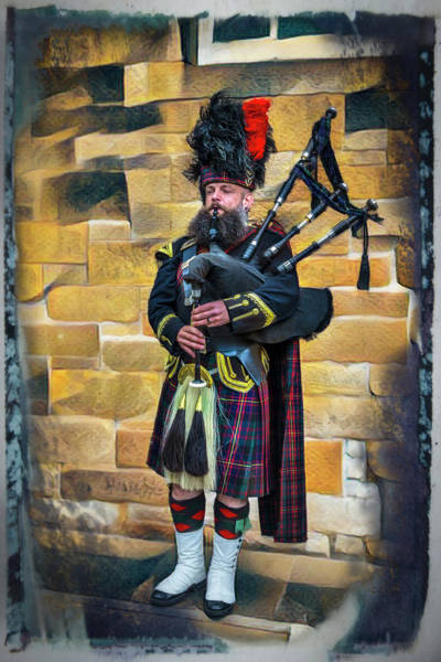 Holyrood Photograph - The Bagpiper In Full Dress Framed by Debra and Dave Vanderlaan