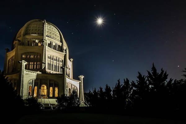 Photograph - The Bahais Temple On A Starry Night by Sven Brogren