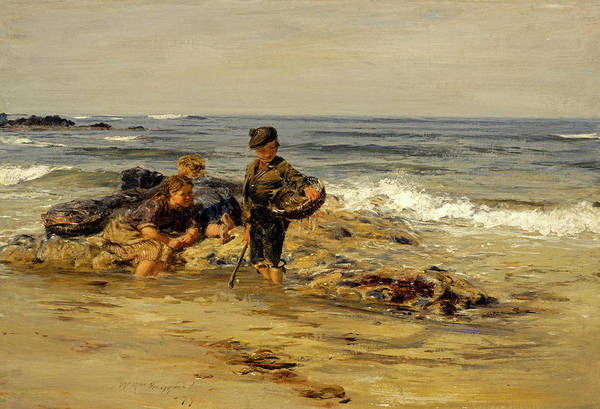 The Shepherdess Wall Art - Painting - The Bait Gatherers, 1879 by William McTaggart