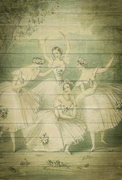 The Ballet Dancers Shabby Chic Vintage Style Portrait Art Print