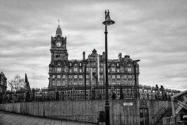 Wall Art - Photograph - The Balmoral Hotel Edinburgh In Black And White by Bill Cannon